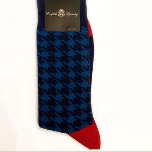 Socks Houndstooth Blue Black Red Unisex